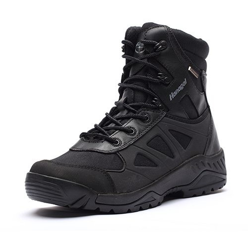 Black military combat boots