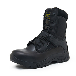 Black men leather police boots